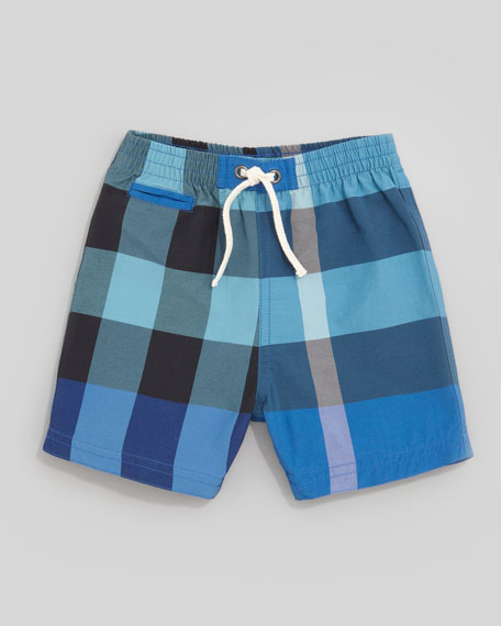 Mini Check Pocket Swim Shorts, Cobalt/Turquoise