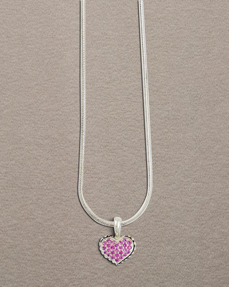 Kids Pink Sapphire Heart Necklace
