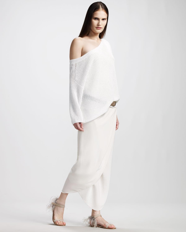 Brunello Cucinelli English Rib Paillette Sweater & Strapless Jersey