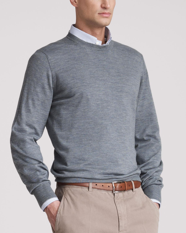 N1QGX Brunello Cucinelli Fine Gauge Crew Sweater, Auoro