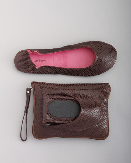 """Luxe """"Python"""" Travel Ballet Flat and Pouch"""