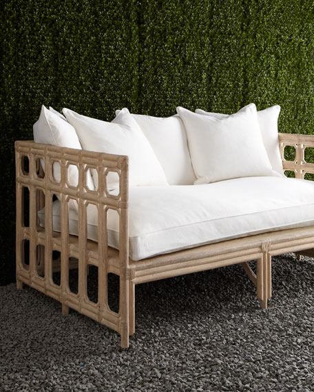 White Faux-Bamboo Outdoor Sofa