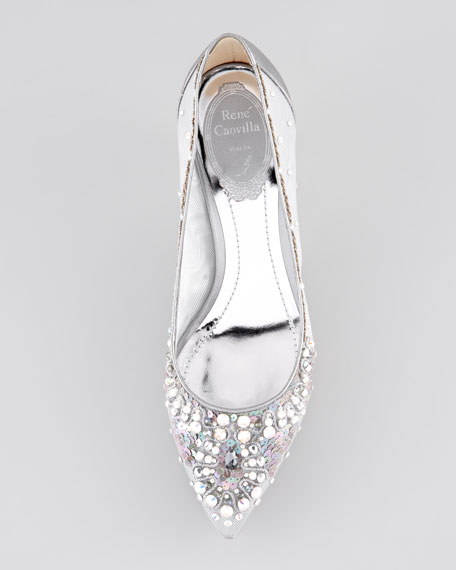 Crystal-Embellished Mesh Pump