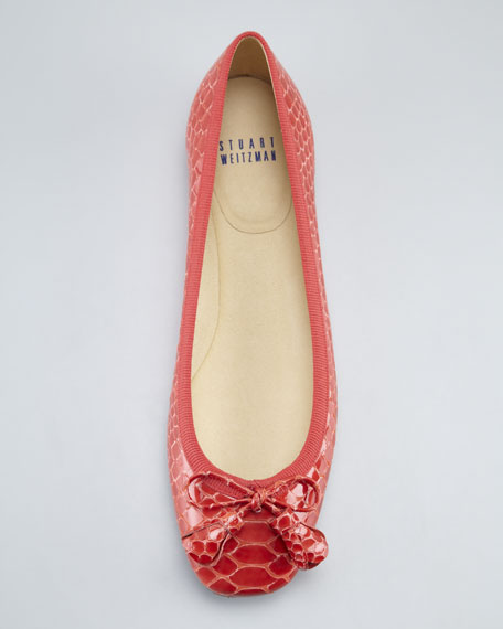 Tulip Bow Snake-Embossed Flat, Coral