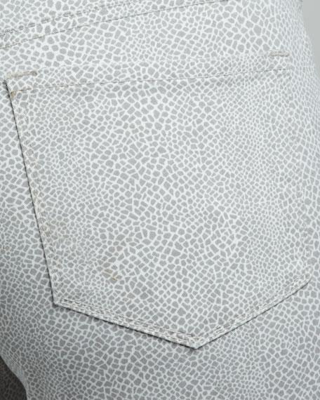 Audrey Lizard-Print Ankle Pants, Women's, Gray