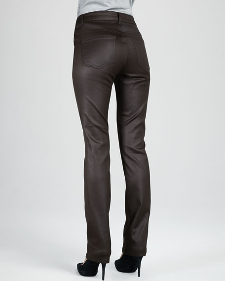 Abby-Skinny Leather-Coated Jeans