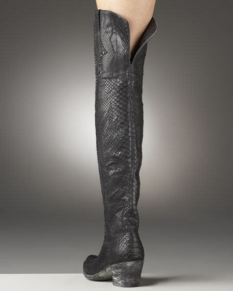 Jeweled Python Over-the-Knee Boot