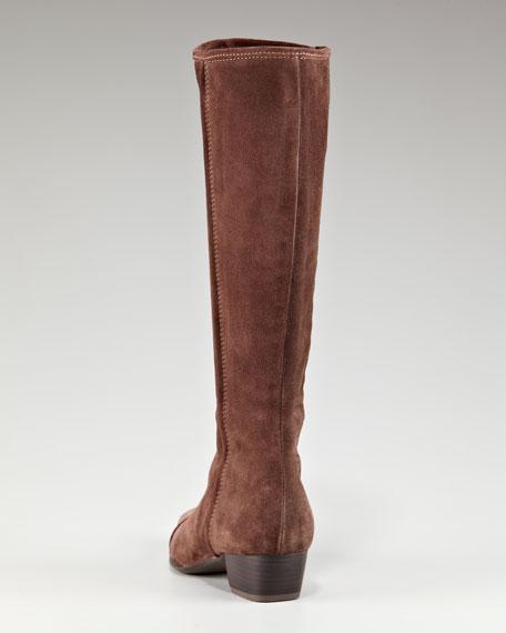 Suede Low-Heel Knee Boot