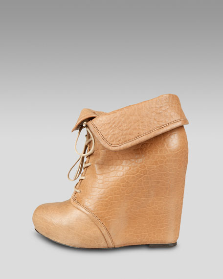 Lace-Up Cuffable Wedge Boot