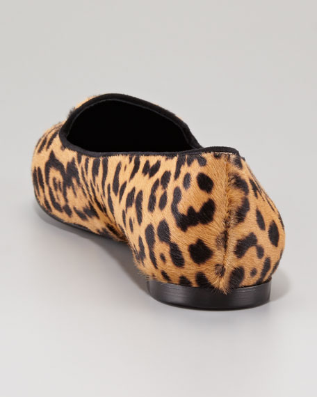 Metallic Cap-Toe Leopard-Print Calf Hair Loafer