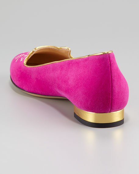 Kitty Cat-Embroidered Suede Slipper