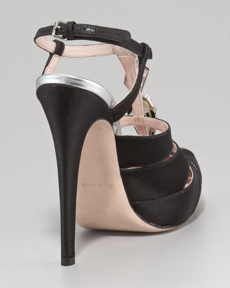 Bejeweled T-Strap Satin Sandal