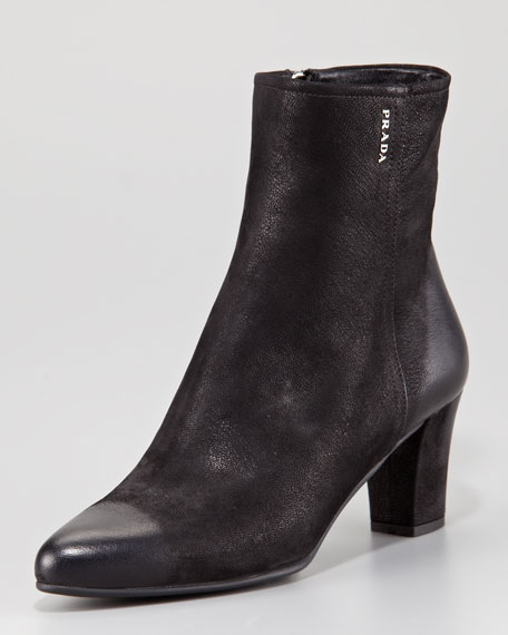 Distressed Leather Square-Toe Side-Zip Bootie