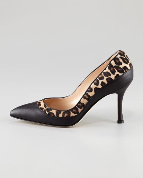 Lushkaba Leopard-Print-Trim Pump