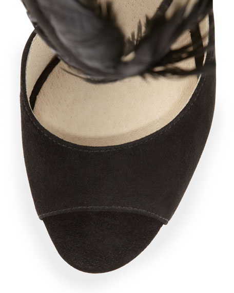 Vasha Suede/Feather Platform