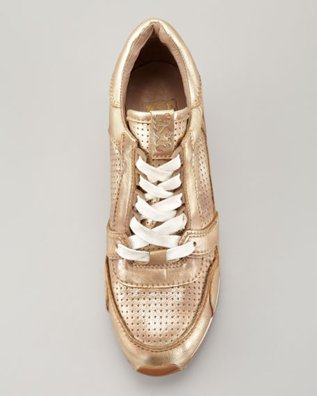 Metallic Leather Low-Top Wedge Sneaker