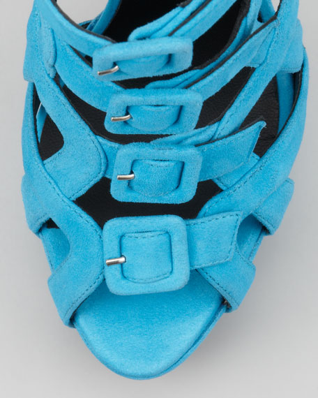 Suede Multi-Buckle Sandal, Blue