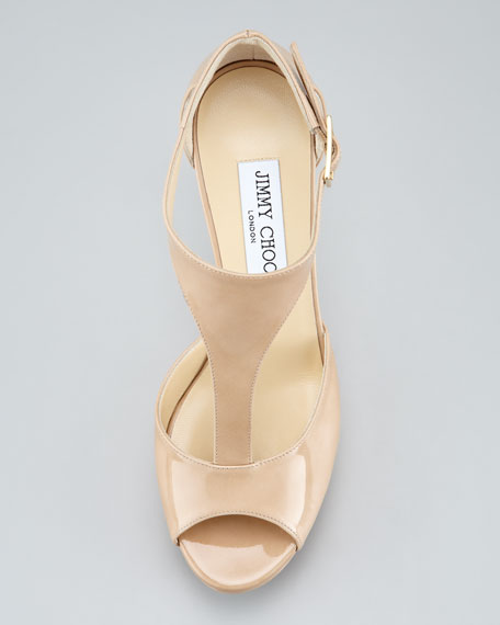 Tribe Patent T-Strap Sandal, Nude