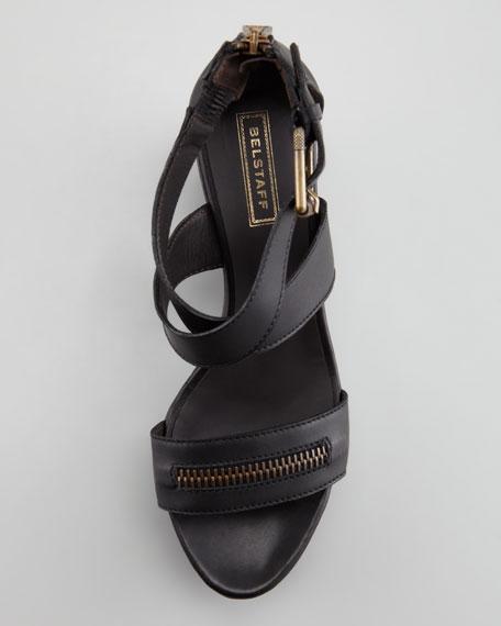 Zipper Wedge Sandal, Black