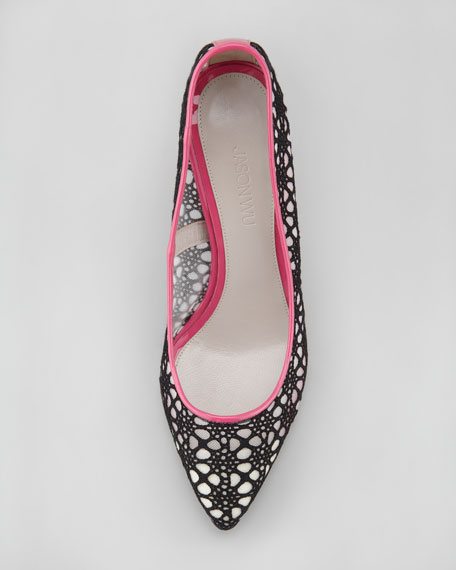Crochet Lace Pump, Black/Magenta
