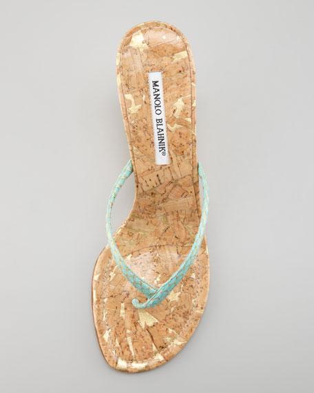 Patwedfac Snakeskin Wedge Thong Sandal