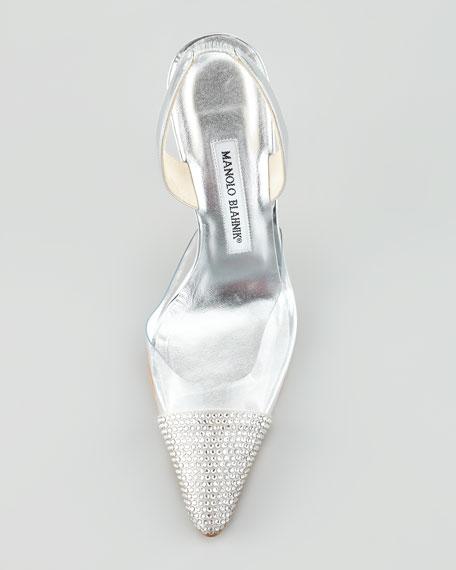 Carolyne Crystal High-Heel Halter Pump, Silver