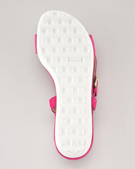 Ringo Ankle-Strap Suede Flat Sandal, Geranium
