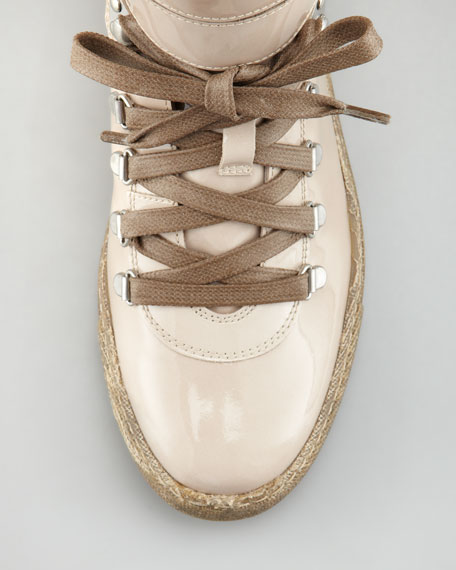 Patent Leather Hi-Top Sneaker, Sand