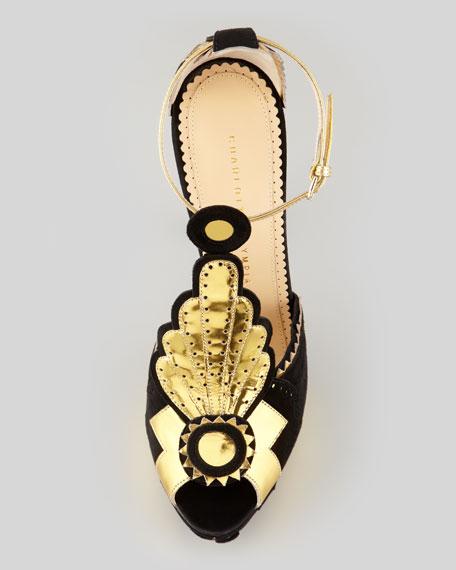 Sunset Art Deco T-Strap Sandal, Black/Gold