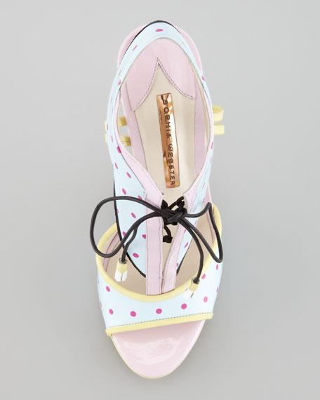 Leilou Polka-Dot T-Strap Sandal, Blue/Pink