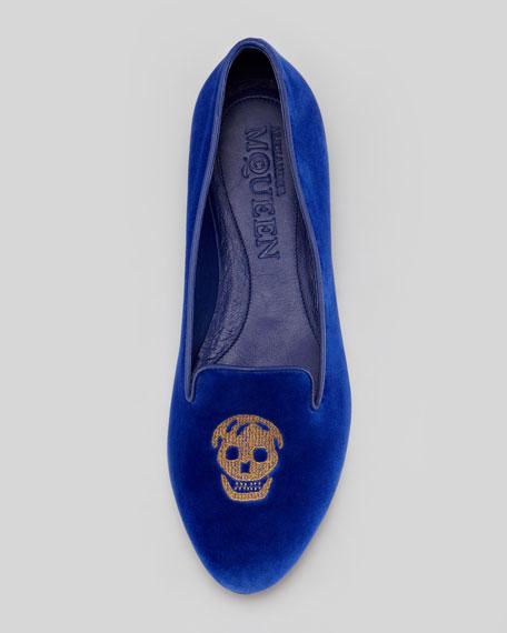 Embroidered Skull Smoking Slipper, Royal Blue