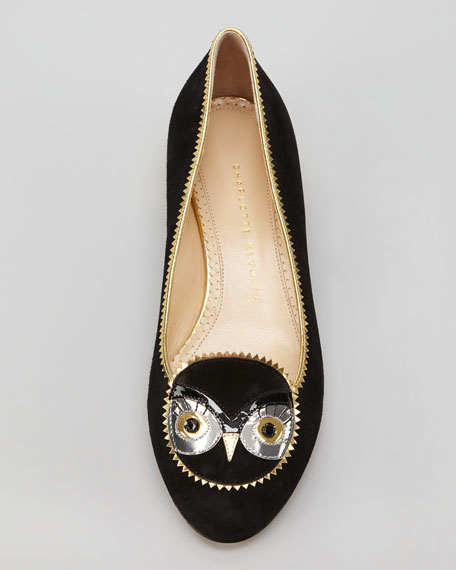Sucha Hoot Suede Owl-Face Flat