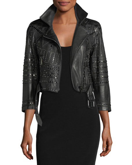 Nour Hammour Vendome Cropped 3/4-Sleeve Studded Leather ...