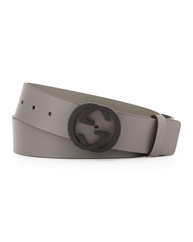 e128cecef30 Gucci Leather Belt with Interlocking G Buckle