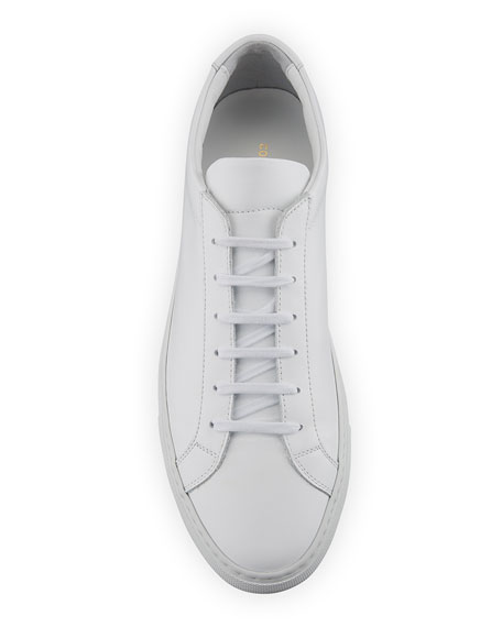 Image 3 of 6: Common Projects Men's Achilles Leather Low-Top Sneakers, White