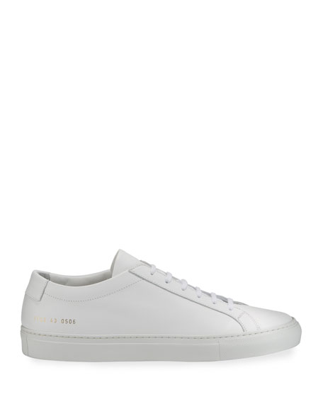 Image 4 of 6: Common Projects Men's Achilles Leather Low-Top Sneakers, White