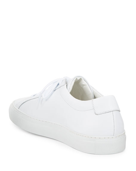 Image 5 of 6: Common Projects Men's Achilles Leather Low-Top Sneakers, White