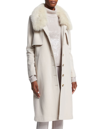 Long Coat w Fur Collar