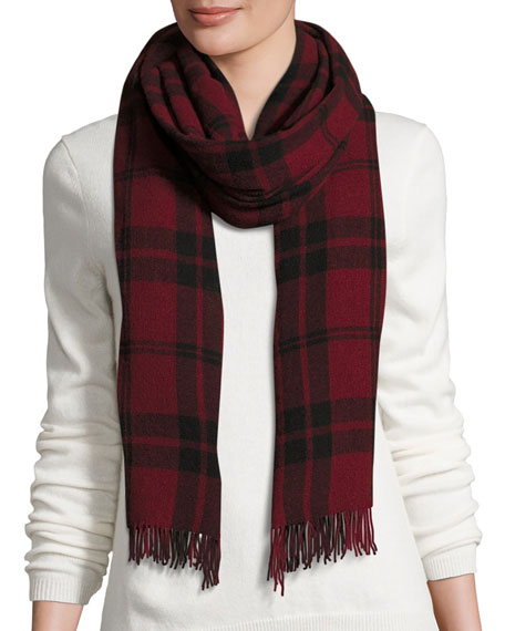 Soft Wool/Cashmere Plaid Scarf