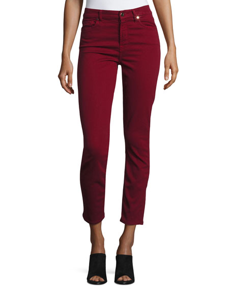 Brushed Sateen Skinny Ankle Jeans