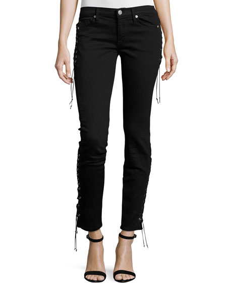 Hudson Suki Lace-Up Mid-Rise Skinny Ankle Jeans, Black