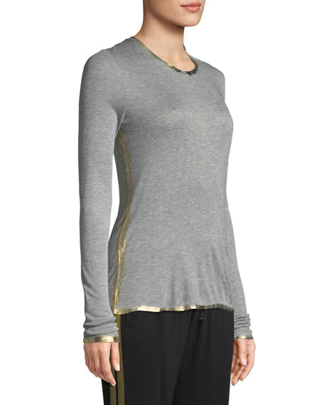 Zadig & Voltaire Willy Golden Foil-Detail Long-Sleeve T-Shirt