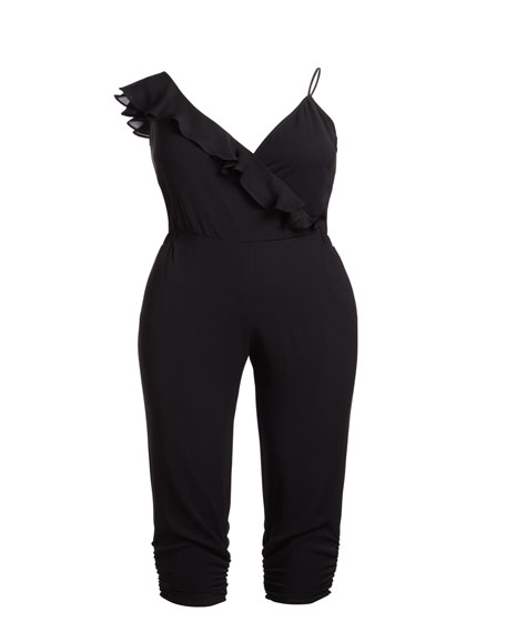 Image 3 of 3: Parker Addison Sleeveless Ruffle Cropped Straight-Leg Jumpsuit