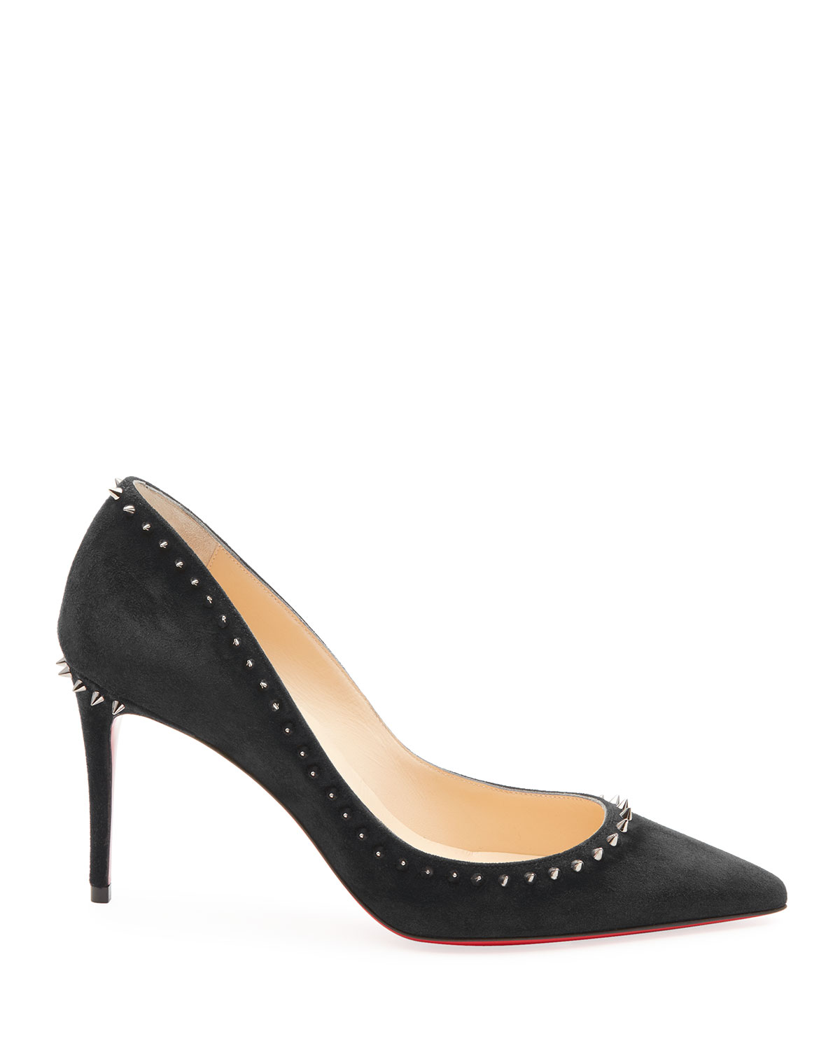 57ae834c30c Anjalina Suede Spiked Red Sole Pump