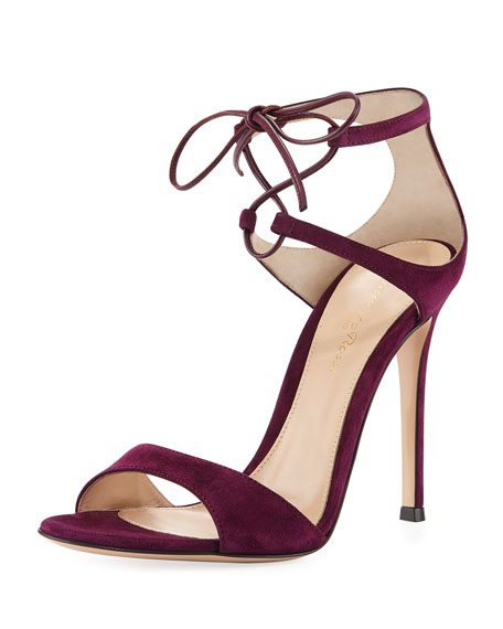 Image 1 of 4: Strappy Suede 105mm  Lace-Up Sandal