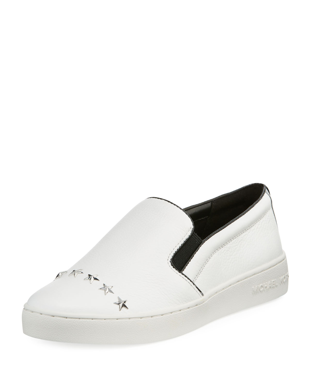 8328961516315 MICHAEL Michael Kors Keaton Star-Studded Leather Slip-On Sneakers ...