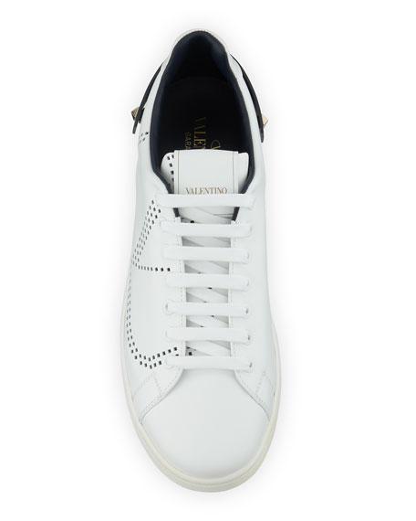 Valentino Garavani Men's Net Low-Top Leather Logo Sneakers
