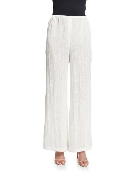 Caroline Rose Crinkled Asymmetric Linen Tunic & Wide-Leg