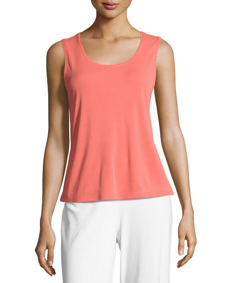 Eileen Fisher Silk Jersey Tank Top, Plume, Plus