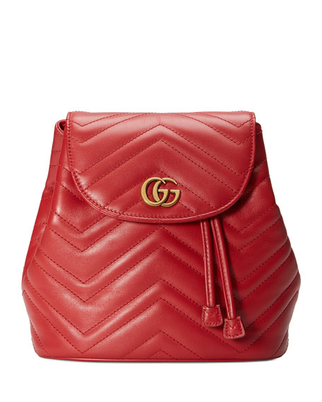 Image 1 of 4: GG Marmont Chevron-Quilted Leather Backpack